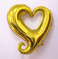 HOT! 25  PCS/LOT  Free Shipping 18 inch Gold  Hook Heart -Shaped Helium Balloon For Wedding &t Birthday Party