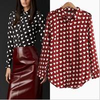 Fashion basic 2014 heart vintage print pattern long-sleeve turn-down collar shirt female