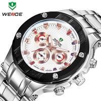 Free shipping 2014 WEIDE men watches fashion quartz watch brand 30m waterproof relogio stainless steel Japan movement male clock