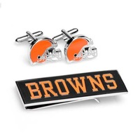 Cleveland Browns Cufflinks and Money Clip Gift Set  NIB Free Shipping