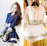 Korean new Women set 2014 patchwork Golden thread short coat + high waist culottes  twinset women suits blue white two colors