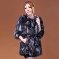 2014 new women's grass silver fox fur long coat Korean Slim fur outwear Specials