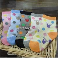 2014 new children socks cotton  kids socks (2 -8) years old kid dress spring autumn cartoon style stock (5pairs/lot )
