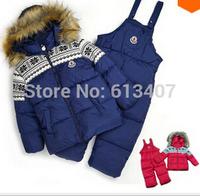 DT0149 Children's Winter Clothing Set Baby Boy Ski Suit Kids Sets Windproof Flower Warm Coats Fur Jackets+Bib Pants+Wool Vest