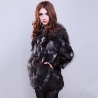 2014 new women's  silver fox fur coat long sections Specials