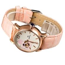 Classic Steampunk Bronze Stylish Golden Bezel Jewelry Rhinestone Women s Auto Mechanical Wrist Watch pink Band