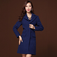 Twods woolen outerwear women navy blue coat turn down collar 3 pocket slim plus size