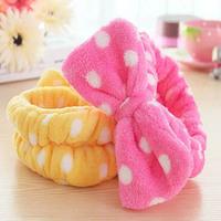 Free Shipping Korean Coral velvet Pretty Bowknot Snood Face Washing Mask Make up Girl headband Hair Band Lady Taenia Bandeau