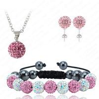 2014 Hot Selling Shamballa Jewelry Set,Fashion Shamballa Bracelet,Shambala Earring,Charms Silver Plated Chain Rainbow&Light Pink