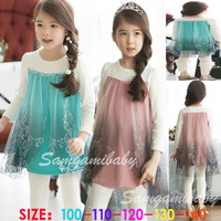 Hot Sale! new fall clothing snow Romance kids girls long-sleeve dress free shipping