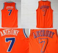Free Shipping S-XXL Carmelo Anthony Basketball Jerseys Carmelo Anthony New York #7 REV 30 Embroidery Alternate Jersey - Orange