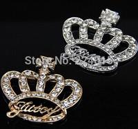 Metal Crown Alloy Rhinestone  Jewelry DIY Accesorios,Spacer Path Phone Clothing Shoe Findings,40*36mm