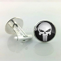 1 Pair Free Shipping PUNISHER Cufflinks,Skull Cufflinks for men,gift for him,Men Accessories,men cufflinks high quality