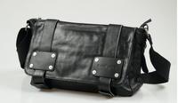 2014 New Brand Genuine Punk Leather Men's Big Casual Messenger School Cross Body Bags Fashion Designer High Quality Satchel