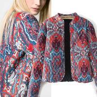 Western Spain style casacos femininos 2014 women jackets winter warm quilting charm classic retro printed design jacket