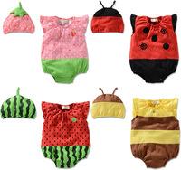 2014 baby bodysuits girls newborn clothing children clothes set strawberry bee ladybug cartoon costume halloween photograpy prop