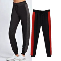 2014 autumn winter new Europe style quality color patchwork women sport pants drawstring elastic waist carrot pants casual