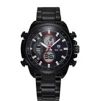 Free shipping Men sports watches brand WEIDE military calendar Japan quartz digital movement stainless steel watch waterproof