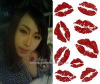 freeshipping / temporary tattoo sticker / waterproof / female / tattoo sticker / sexy / red / lip print kiss love