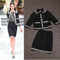 Free Shipping 2014 Winter 3/4 Sleeve Tweed Short Coat+ Tweed Skirt  Skirt Suits(1 set)  140903X02