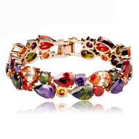 High Quality Fashion 18K Rose Gold Plated Mona Lisa Zircon Bracelet for Women Multicolor CZ Stones Christmas Gift