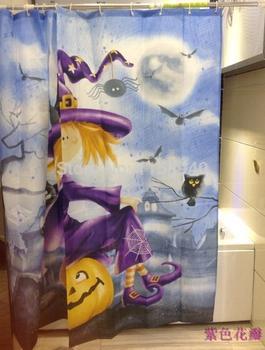 1 unids 180 * 180 cm bruja de Halloween impresión cortina ...