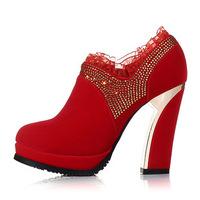 New 2014 Spring Autumn Shoes Woman High Heels Platform Wedding Shoes Rhinestone Women Shoes Size 34-40