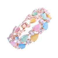 New 2014 Top Quality 18K Rose white Gold Mona Lisa Multicolor Zircon Bracelet Fashion Jewelry AAA CZ diamond Bracelets & Bangles