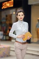Free shipping 2014 Women's spring and summer white chiffon shirt female long sleeve fashion shirts & blouse  women