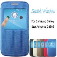 Original Pudini Smart Window Leather Case For Samsung Galaxy Star Advance G350E + free screen film + Free ship
