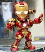Free shipping+Hot Sale!!High Quality Movie Iron Man PVC Dolls,The Avengers PVC Car Decoration LED Flash Light Dolls