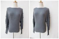 Fashion brief fashion slit neckline medium-long bat sweater grey