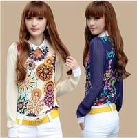2014 autumn fashion chiffon women blouse Bohemian shirt female long-sleeve shirt plus size slim career women's clothing