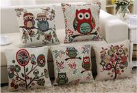 New home new cute cartoon owl Linen pillow cover cotton cushion cover pillow cushion pillowcases home Decor sofa cushions