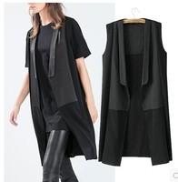 Brand New 2015 Fashion Women's Long Design Elegant Patchwork Sleeveless Blazer Vest Waistcoat Jacket no button Black Color SML
