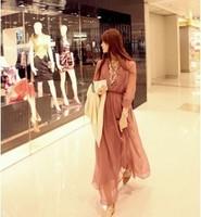 0629 # Korean version of the new bohemian dress long-sleeved chiffon dress sea beach