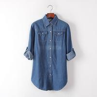2014 Autumn loose medium-long shirt water wash 100% cotton Leisure denim shirt long-sleeve shirt women blouse women's clothing