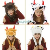 cartoon character animal hat cap cow ox dog bird panda deer label freeshipping