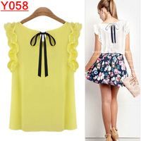 Y058--Plus Size S-XL New 2014-2015 Women's Blouse Chiffon Shirt O-neck Lotus Leaf Pullover Lacing Bow  Free Shipping