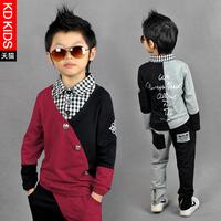 2014 ! male child set color block decoration children's child clothing spring and autumn child set