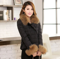 Thickening plus size large fur collar short slim outerwear women's design down coat female