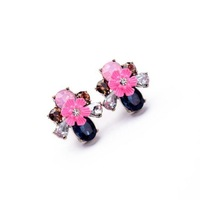 2014 Cute Pink Flower Stud Earring Design Earring Fashion Earring Free Shipping (Min $20 can mix)