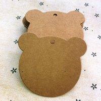 free shipping bear-shaped card DIY kraft tag gift label card