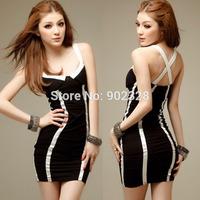 Top Quality Women Sexy Clubwear SW158 Mini Dress Sleeveless Criss Cross Strap Black with white Stripe Club wear Party Lingerie