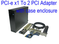 PCIe To 2 PCI adapter PCI express X1 to dual PCI Riser Card with case enclosure