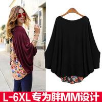 6XL 5XL plus size fat womens tops fashion 2014 blusas femininas atacado roupas femininas printed autumn t shirt women bat sleeve