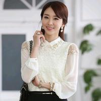5102 2014 autumn slim embroidery lace basic shirt long-sleeve chiffon shirt top