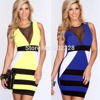 Top Quality Women Sexy Clubwear SW178 Mini Dress Sleeveless Black Mesh White Patchwork Club wear Party Lingerie Yellow/Blue