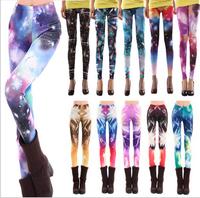 Women Casual American Apparel Galaxy Capris Pants Black Milk Leggings for Women Plus Size Print fitness Leggings Free Shipping