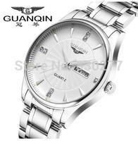 Guanqin   Men waterproof luminous white plate steel quartz watch